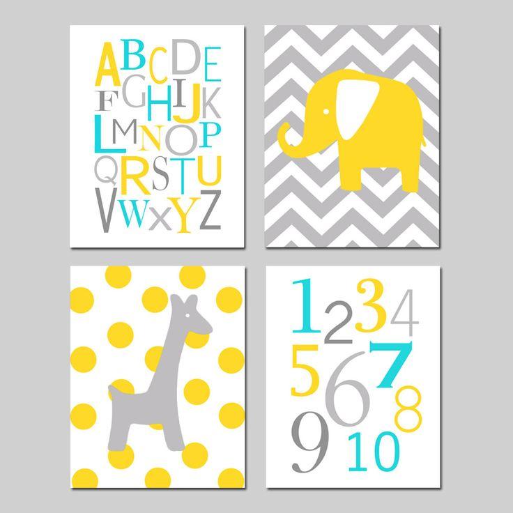 Yellow Gray Aqua Nursery Art Quad Set of Four 8x10 by Tessyla, $65.00