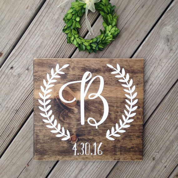 Initial Sign Last Name Wood Sign Monogram by WoodenThatBeSomethin More