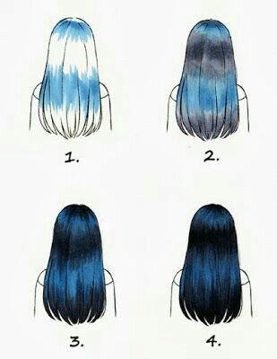 black hair, draw, long hair, manga, paint, tutorial