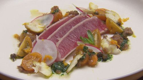 Seared Tuna with Anchovy and Tomato Reduction, Salsa Verde toasted chestnut http://masterchefrecipe.net/seared-tuna-with-anchovy-and-tomato-reduction-salsa-verde-toasted-chestnut/