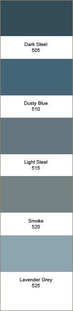 Kleurstrook 505-525 505 Dark Steel 510 Dusty Blue 515 Light Steel 520 Smoke 525 Lavender Grey