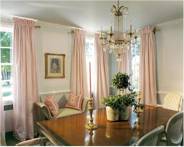 Traditional Light Pale Blue Dining Room With Pink Drapes Designer Suellen Gregory