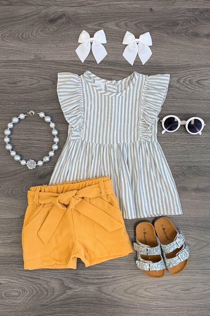 Stripe Mustard Corduroy Short Set