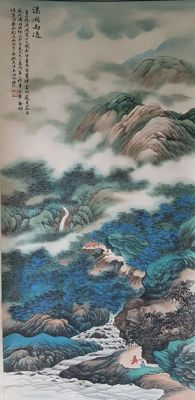 Hand-painted Chinese scroll painting《吴湖帆-潇湘雨过》,- China - late 20th century