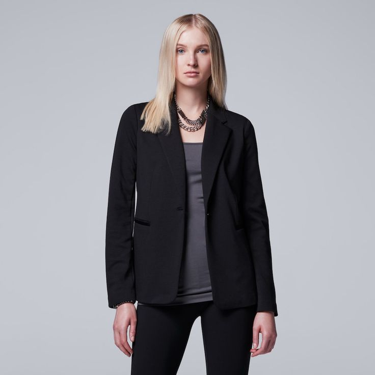 Women's Simply Vera Vera Wang Black Blazer, Size: Large