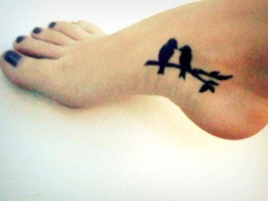 Cute couple tattoo idea -birds on a limb, but could easily do on the wrist