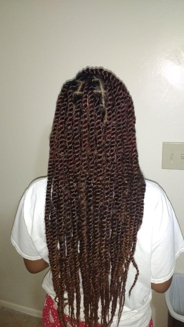 Reddish long Marley twist natural hair protective styles