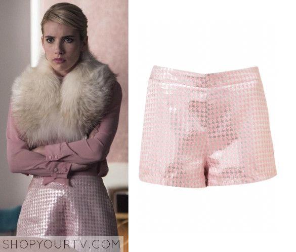 Scream Queens: Season 1 Episode 6 Chanel Oberlin's Pink Jacquard Shorts