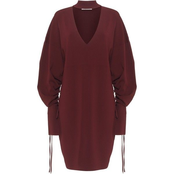 Ines Dress Maroon ❤ liked on Polyvore featuring dresses, red loose dress, long sleeve knee length dress, maroon long sleeve dress, long sleeve dress and loose fit dress