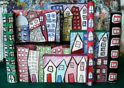 alisaburke: Recycled City Scape Tutorial  made out of cereal boxes, cardboard tubes, etc...would be amazing wall art