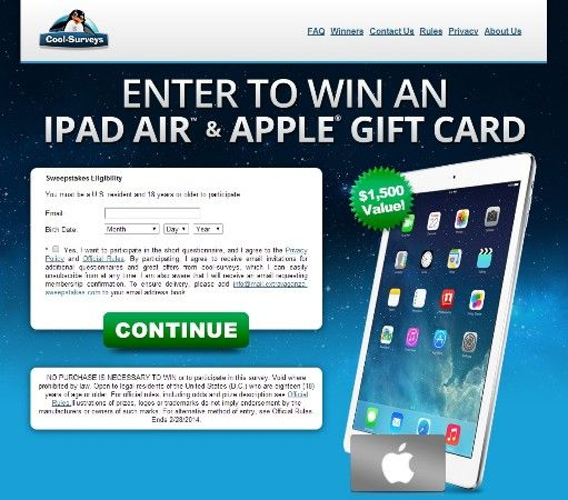 Enter to win an iPad Air & Apple Gift Card: https://www.cpagrip.com/show.php?l=0&u=10952&id=3045&tracking_id=
