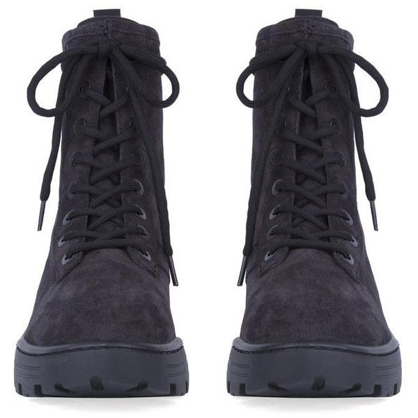 MEN'S COMBAT BOOT IN THICK SUEDE GRAPHITE ($520) ❤ liked on Polyvore featuring men's fashion, men's shoes, men's boots, mens suede shoes, mens military boots, mens shoes, mens suede boots and mens thick sole shoes