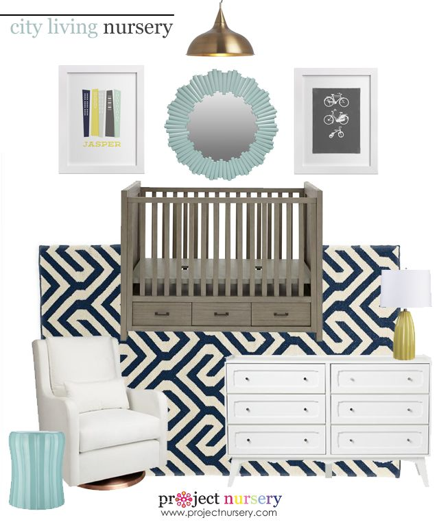 City Living Nursery Design Board - Project Nursery: Maternity Baby, Nurseries Baby, Bike Prints, Living Nurseries, Colors Schemes, Projects Nurseries, As Nurseries, Cities Living, Baby Nurseries