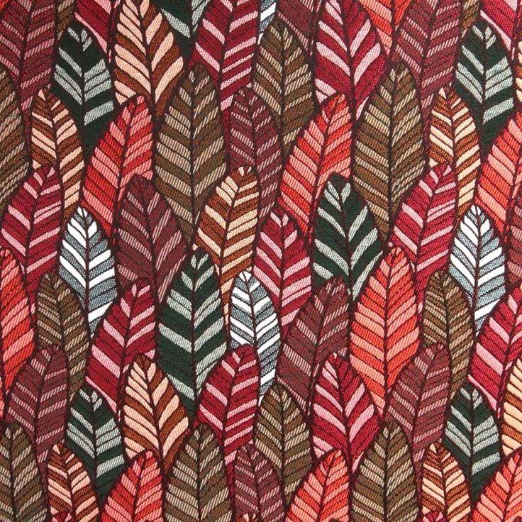 Tissu jacquard Plumes Wax multicolore rouge bordeaux et vert - vendu par 50 CM