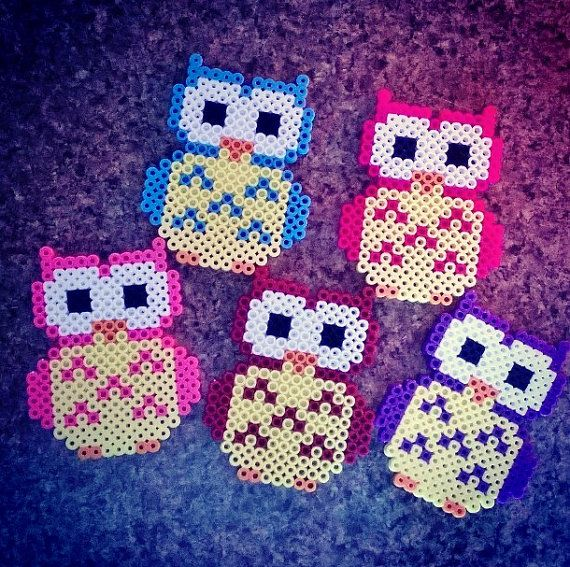 Owl Perler Bead Magnet or Keychain by PrebreakofdawnCrafts