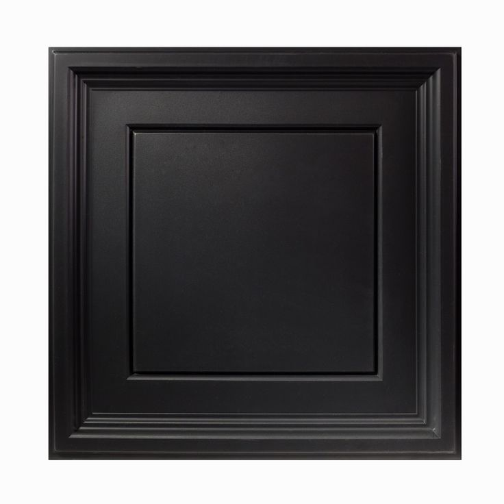 Icon Coffer 2 ft. x 2 ft. PVC Lay-In Ceiling Tile in Black (Set of 12)