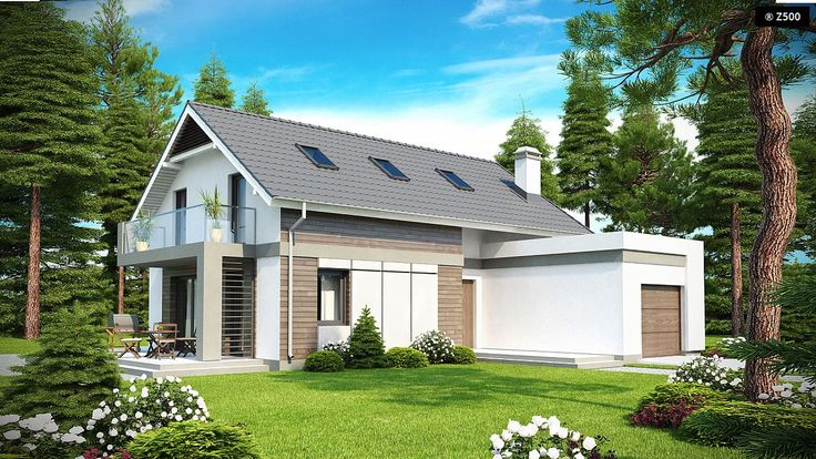 Z168, A house with a gable roof and a frontal garage, a balcony and a terrace in the side wall. | Z500 Eesti