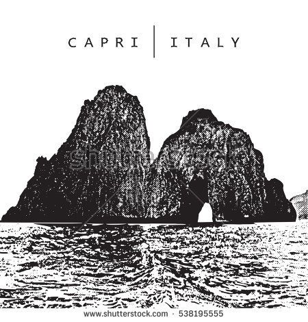 Capri, Italy. Vector illustration of of the famous place - coastal rocks Faraglioni.   Illustration in graphic style.  The vector image is the result of autotrace. It is adapted for easy use.
