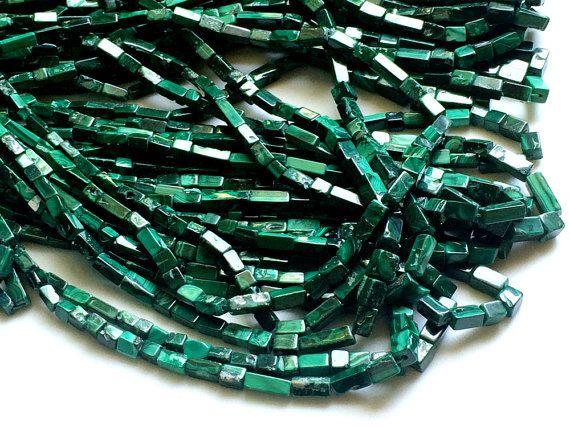Malachite Beads Malachite Plain Rectangle Brick by gemsforjewels