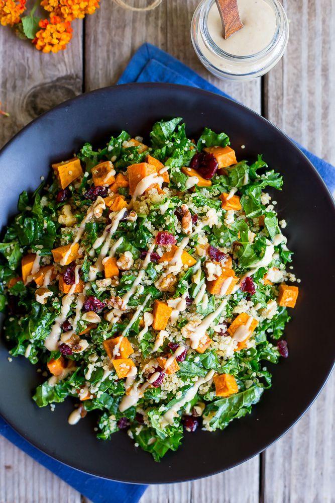 Fall Quinoa Salad With Kale Sweet Potato Maple Tahini Dressing