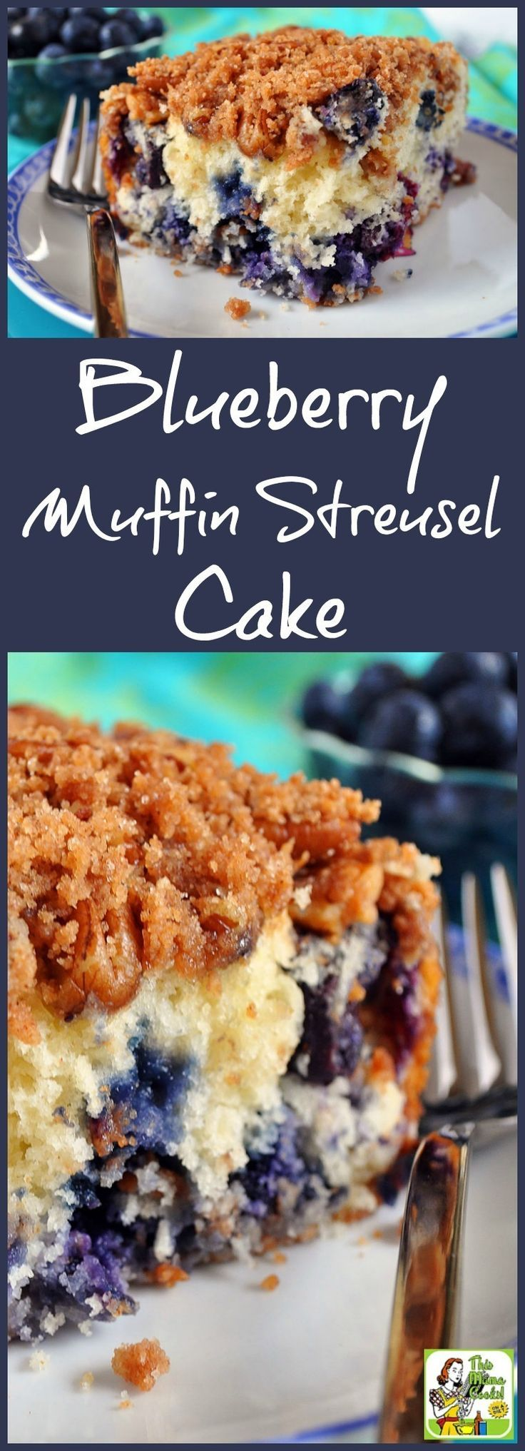 Make Blueberry Muffin Streusel Cake for brunch or a work breakfast meeting. This recipe is easy to make snack for playdates and teacher appreciation breakfasts, too! (Recipe comes with a gluten free and sugar free option.)