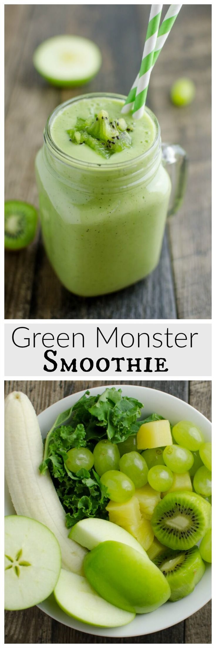 Green never tasted SO good! This Green Monster Smoothie recipe is loaded with vitamins, calcium, and antioxidants, without tasting 'green'.