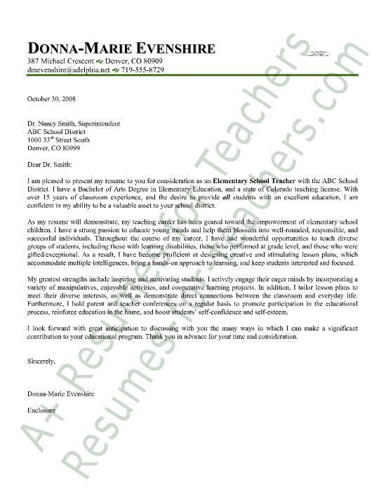 The 25+ best Letter sample ideas on Pinterest Letter example - cover letter sample teacher
