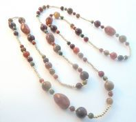 Vintage Long Faux Agate Stone Scottish Style Bead Necklace.