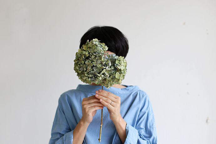 Stand collar box shirt~gardenia blue