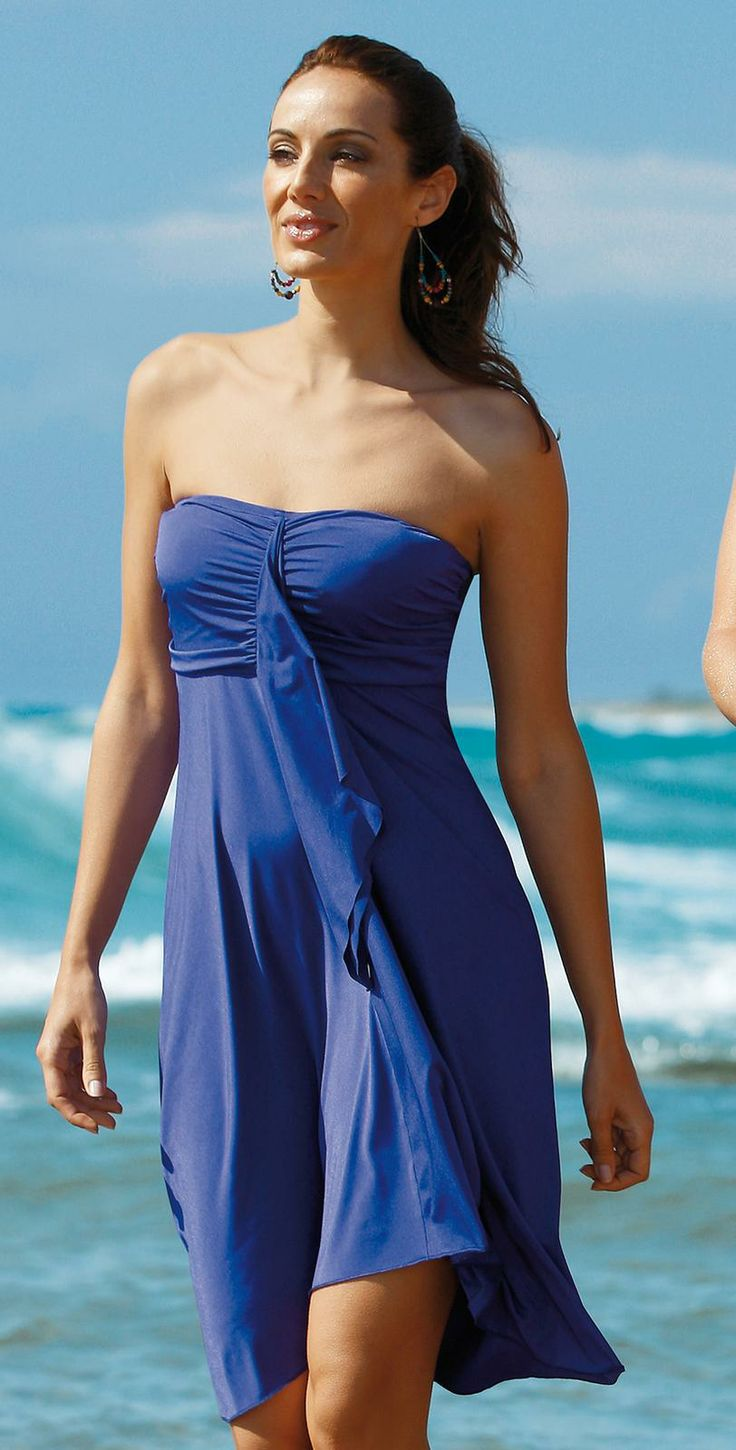 Fashion Book Cover Ups : Sunflair basic purple bandeau cover up