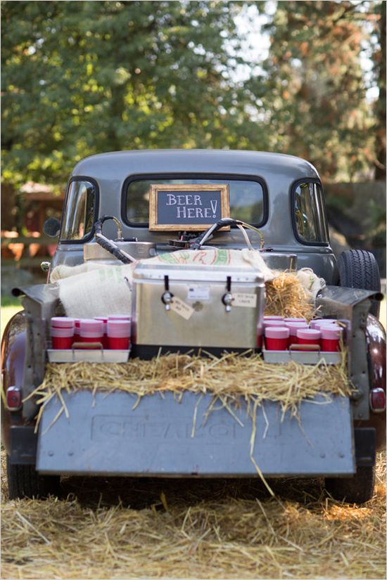 Beer here truck as drink station. Captured By: Erica Chan Photography http://www.weddingchicks.com/2014/06/20/handcrafted-barn-wedding-2/
