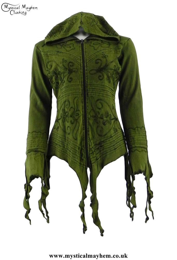 Green Ragged Hem & Embroidery Pixie Hooded Hippy Festival Top Large/XLarge UK Size 12-16