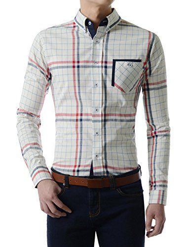 TheLees (AL303) Mens Slim Fit Plaid Check Long Sleeve Casual Cotton Shirts WHITE US S(Tag size XL) TheLees http://www.amazon.com/dp/B01B74VJ7K/ref=cm_sw_r_pi_dp_Uk55wb0E0J07V