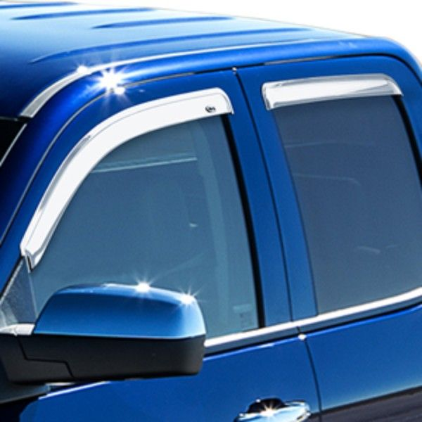2016 #Silverado 3500 Side Window Deflectors, Double Cab, Chrome: Let fresh air in and keep rain, sleet and snow out with these tape-on Side Window Weather Deflectors. Custom molded to fit your All-New Silverado 3500, they help reduce wind noise and sunlight glare.