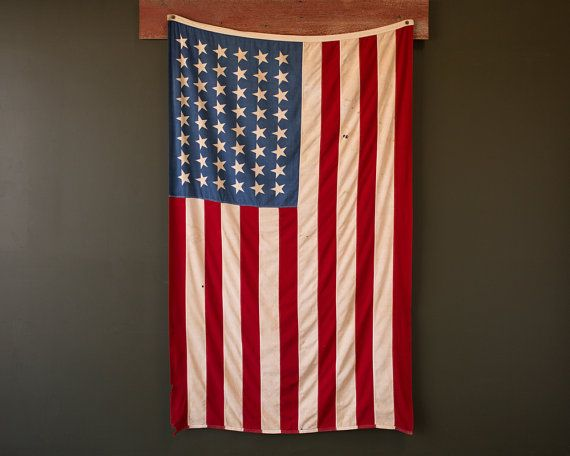 Vintage American Flag / 1940's Original Cotton 50 by JohnMihovetz