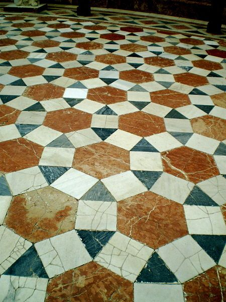 A semi-regular tessellation: tiled floor of a church in Seville, Spain, using square, triangle and hexagon prototiles