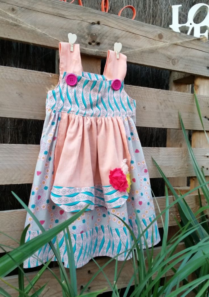 Summer dress, roses, size 2, girl's dress, cheese-cloth, unique, vintage look, pinafore, hand sewn, one of a kind, apricot and pink, pretty by LittleLarkClothing on Etsy