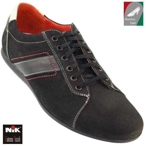 NIK férfi bőr cipő 03-0594-001 fekete