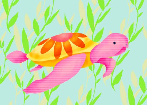 Maggie the Sea Turtle by Oopsy daisy www.sweetretreatkids.com #sweetretreatkids #beachart #beachprint #oceanart #oceanprint #seaturtleart #kidswallart #wallart #seaturtleprint