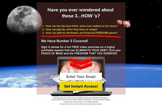 Have you ever wondered about  these 3...HOW 's? How can the sky have limits, when man walked on the moon? How can pigs fly, when they have no wings? How can debt be eliminated, and Financial FREEDOM gained? #mlm #onlinemarketing #marketingtools