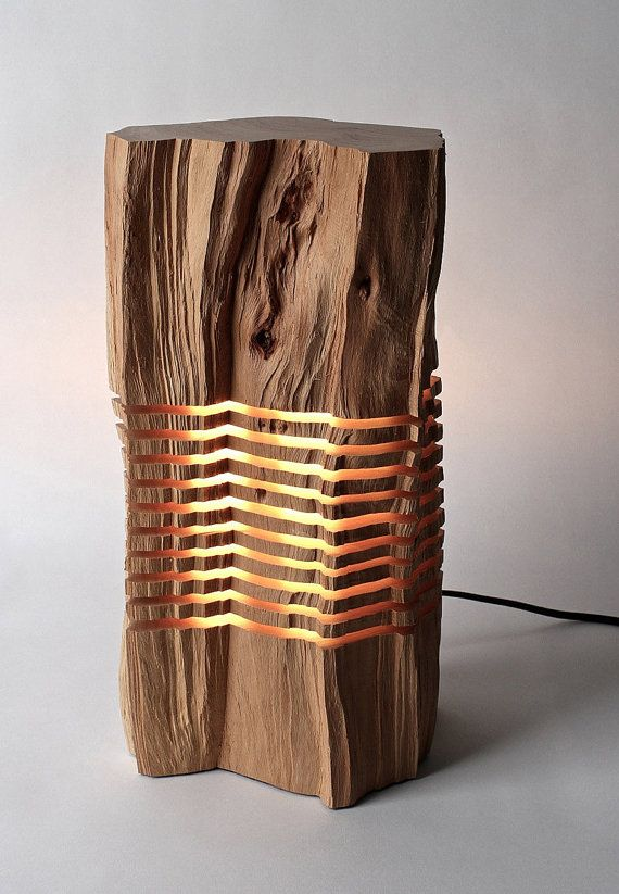 Reclaimed Wood Sculpture Minimal Illuminated Art by SplitGrain, $2100.00