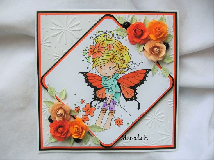wee stamps, monarch , handmade color.