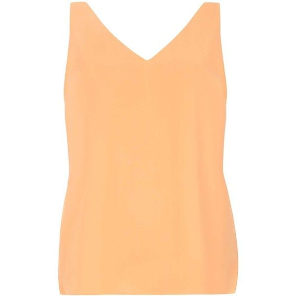 Dorothy Perkins Peach V Neck Cami Top ($21) ❤ liked on Polyvore featuring tops, pink, v neck tank top, v neck tank, v-neck tank, pink cami and pink tops
