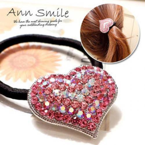 Rhinestone-Heart Hair Tie Pink - One Size