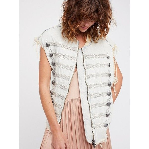 Embroidered Officer Denim Vest (740 SAR) ❤ liked on Polyvore featuring outerwear, vests, white waistcoat, free people vest, white denim vest, zip vest and military style vest