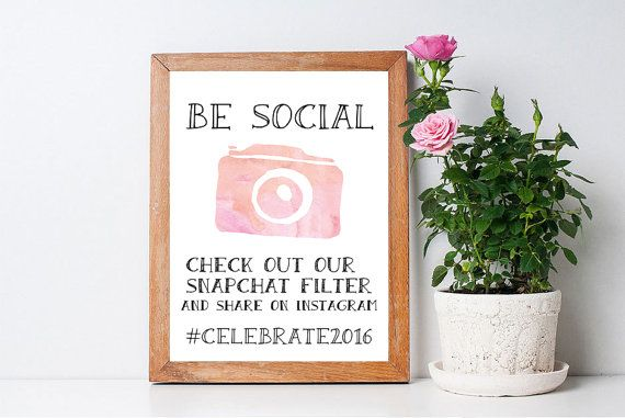 Be Social Snapchat Social Media Print Sign ~ Printable DIY Customisable Design ~ Wedding/Party/Birthday Signage ~ Watercolour Pink Download