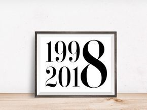 Geschenk Geburt Digital Prints 20th Birthday Decorations Party Prin