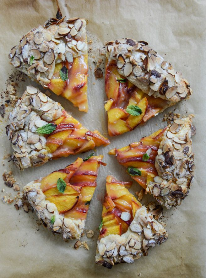 ginger peach galette with almond crust I howsweeteats.com