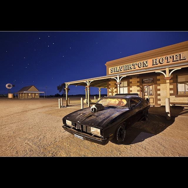 Replica of Mad Max's V8 Interceptor  parked outside the Silverton Pub near Broken Hill, NSW, Australia