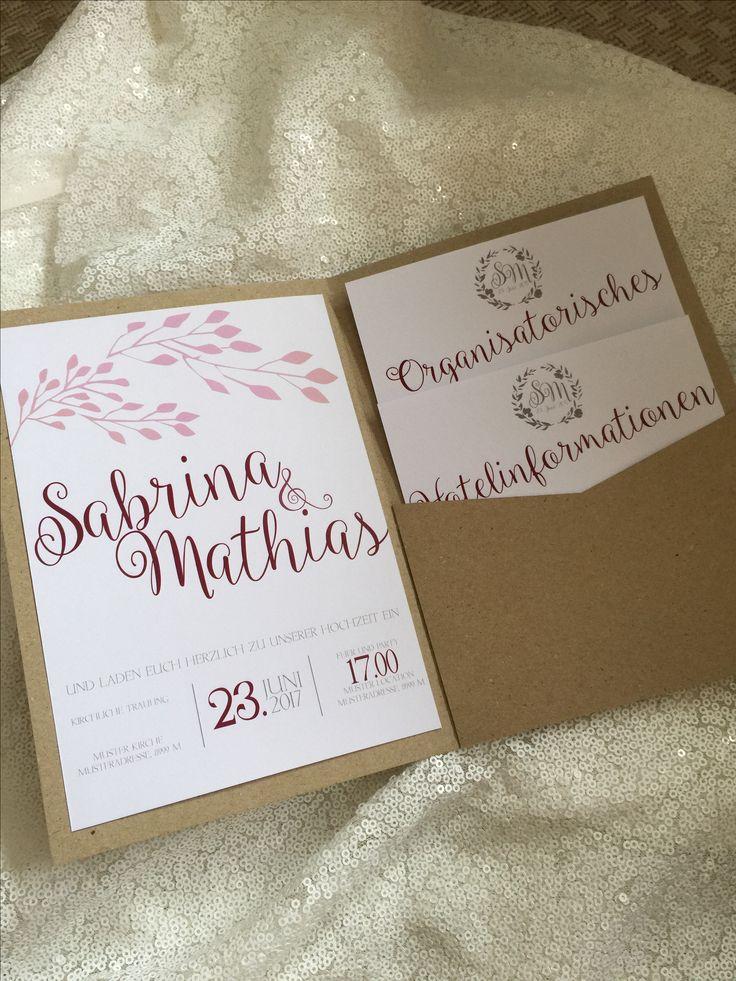 Einladungskarten Für Hochzeit Im Pocket Fold Format. Mit Kraft Papier Im  Vintage Look